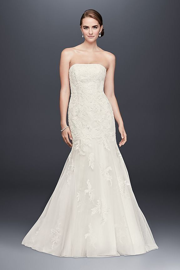 Beaded Lace Mermaid Wedding Dress with Tulle Skirt | David's Bridal