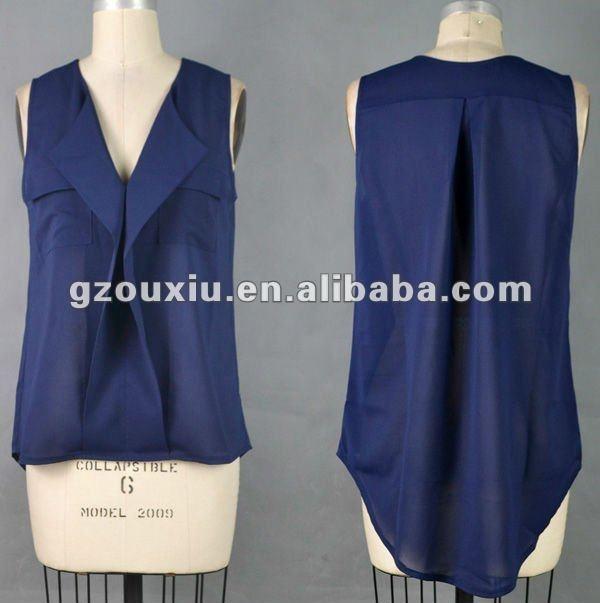 diseñador de 2012 mujeres sin mangas de blusa de gasa