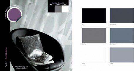 couleurs peinture harmonie gris, noir et blanc couleur en contraste prune
