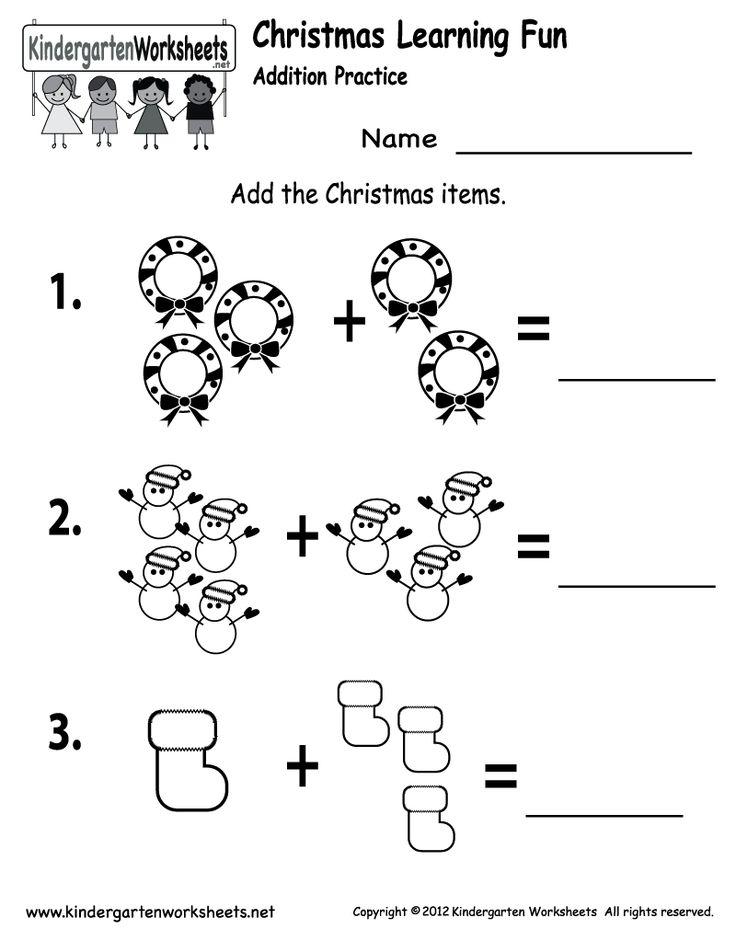 kindergarten christmas addition worksheet printable - Printable For Kindergarten