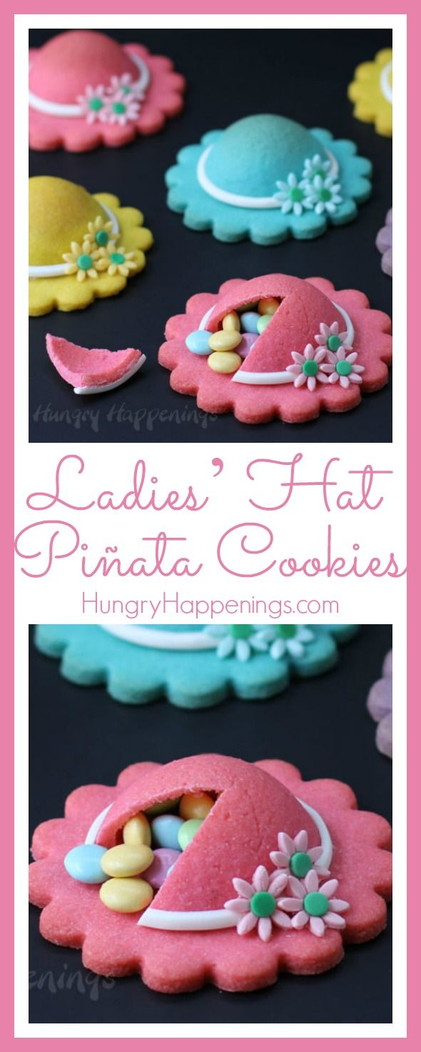 Wearing ladies hats may have gone out of fashion, but these festively decorated Ladies' Hat Piñata Cookies will still be fun treats to serve on Mother's Day.