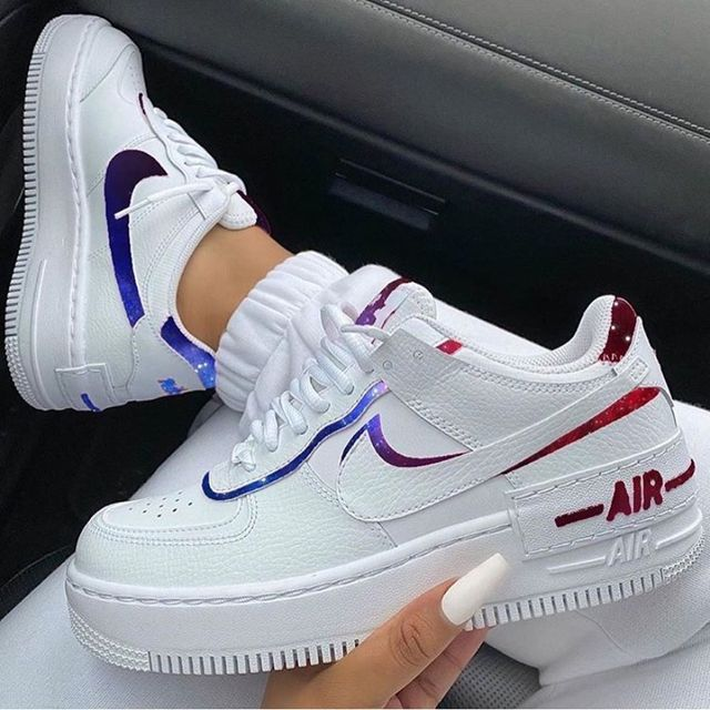 Air Force 1 Shadow Starry in 2021   Trendy shoes sneakers, White ...