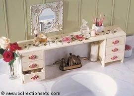 over the bathroom sink organizer   Rose Bouquet Sink Shelf - 25044
