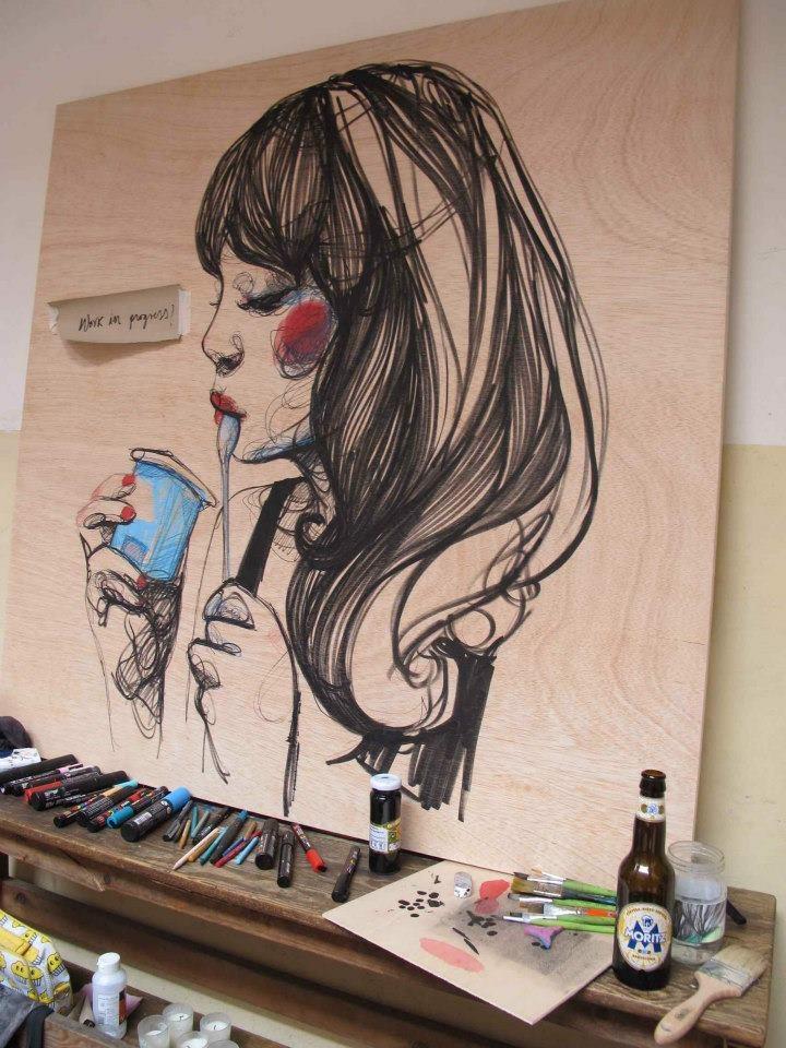 """Mmmmmh...!"" · Una ilustración deliciosa de Paula Bonet · Puedes comprar la print aquí: http://gnomo.eu/collections/paula-bonet/products/lamina-paula-bonet-yogurito"