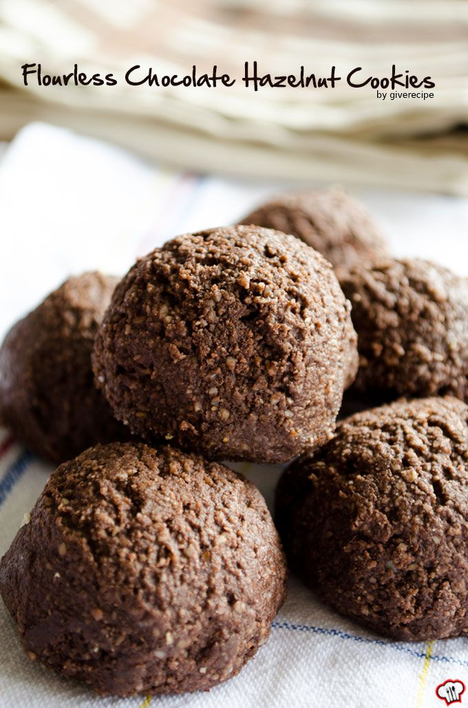 Flourless Chocolate Hazelnut Cookies are very soft and moist in the center. You won't believe that these are gluten-free. | giverecipe.com | #cookies #glutenfree
