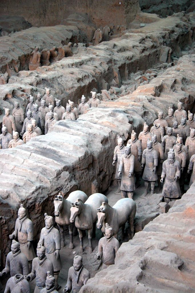 The terracotta army was discovered by accident in 1974 at Xian, in China, when local farmers digging a well broke into a pit containing 6000 life-size terracotta soldiers.
