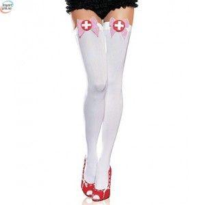 Hvite Strømper - Perfekt Til Sykepleier Kostymet