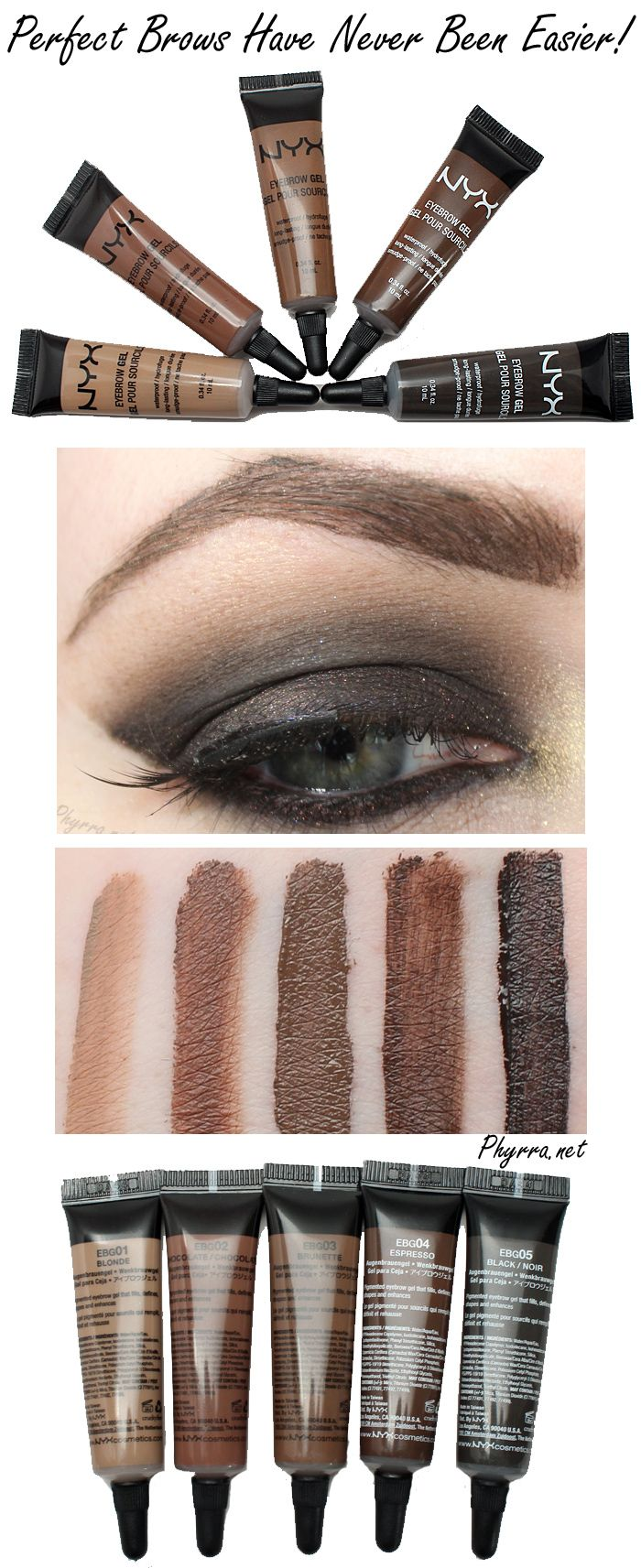 Nyx Eyebrow Gels are an affordable cruelty free dupe for Make Up For Ever Aqua Brow. #crueltyfree #nyx #brows