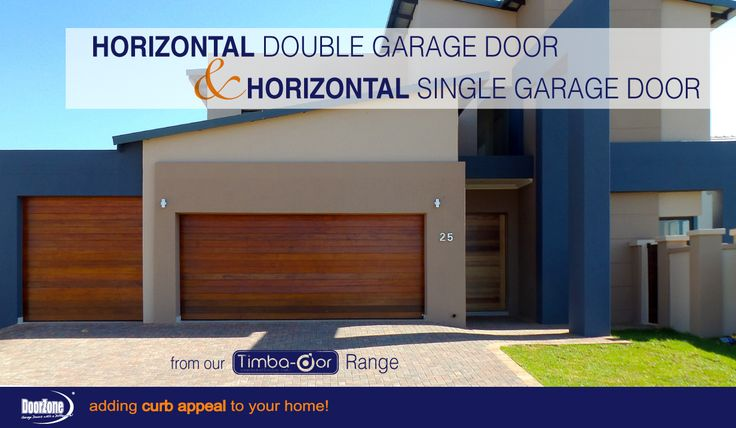 Need a contemporary look but you don't want steel or aluminium? The meranti Horizontal Style Double and Single garage door from our Timba-dor™ Range, adds to the contemporary look of this home but keeps the beauty of natural wood. Don't forget the d-force™ Automatic Overhead Garage Door Opener for that extra convenience and safety. www.doorzonesa.com