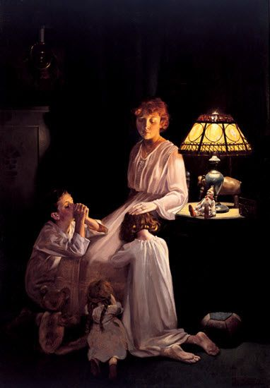 Norman Rockwell (1894-1978) - painted small-town American scenes for The Saturday Evening Post, and later created covers for Look magazine. Here is a mother is hearing her children's prayers before their bedtime.