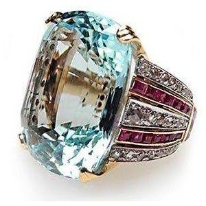 Rosamaria G Frangini | High Blue Jewellery | Art Deco Aquamarine Ring