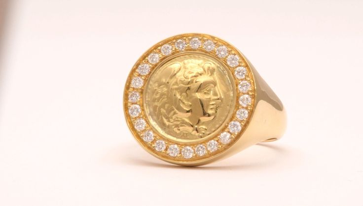Sovereign Ring, Signet Gold Ring, Great Alexander Ring, Ancient Coin Ring, Greek Gold Ring, Mythology gold ring, 18k Gold Ring, Mens 18k Signet Ring, Natural Diamonds Man Ring, 18k Sovereign Ring, Alexander the Great, solid gold yellow ring, man gold ring, mens jewelry, ancient jewelry, medieval gold ring, medieval jewelry, antique coin ring, sovereign 18k ring