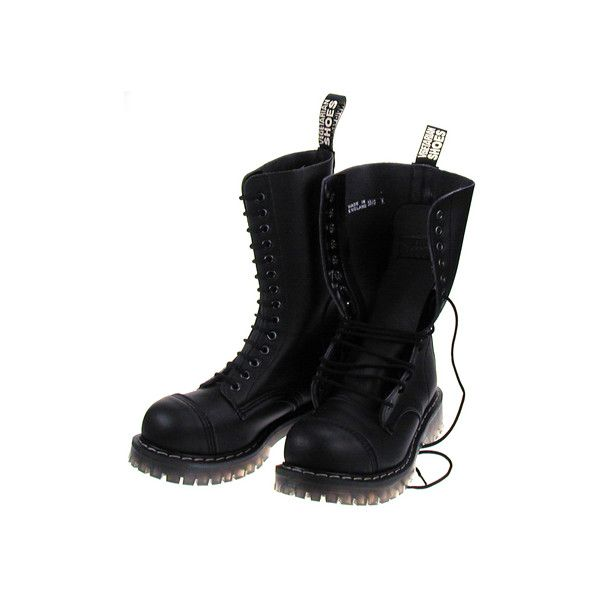Vegetarian Shoes - 14 Eye Boot (steel toe) (Black) ❤ liked on Polyvore featuring shoes, boots, black, kohl boots, black steel toe boots, black boots, vegetarian shoes and steel toe boots