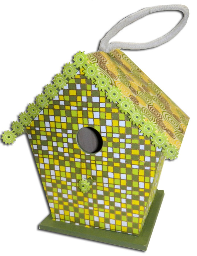 Large Wooden Bird House with handmade paper