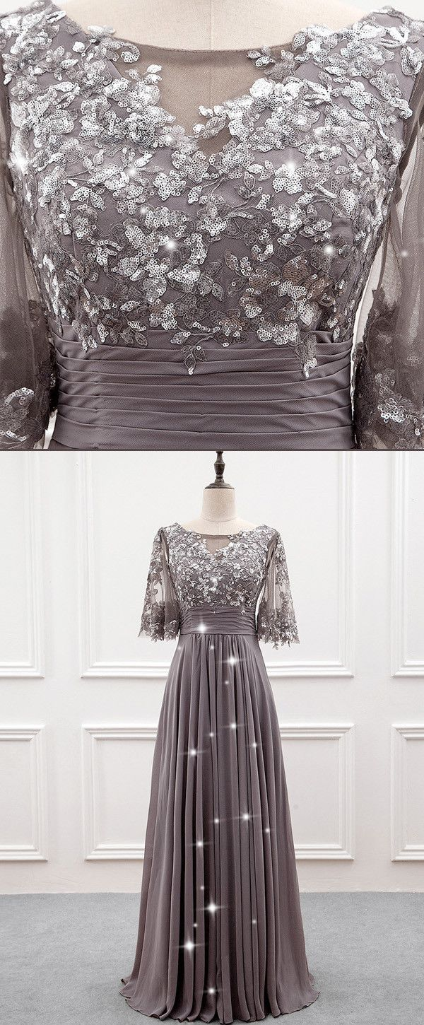 NEW! Wonderful Tulle & Chiffon Bateau Neckline A-line Mother Of The Bride Dress With Sequin Lace Appliques
