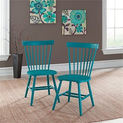 Bowery Hill Spindle Back Dining Chair in Peacock Blue (Set of 2)