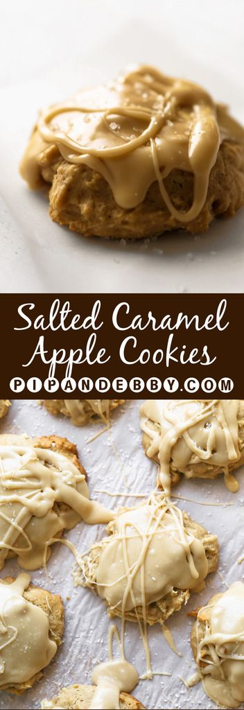 Salted Caramel Apple Cookies | These cookies are cakey, pillowy, LARGE and so delicious! Perfect for fall baking!