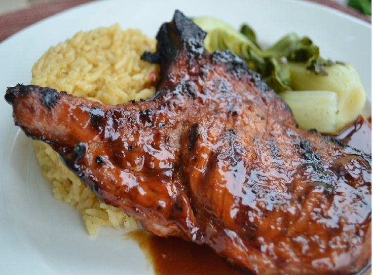 Hoisin Ginger Pork Chops with Bok Choy and Coconut Rice