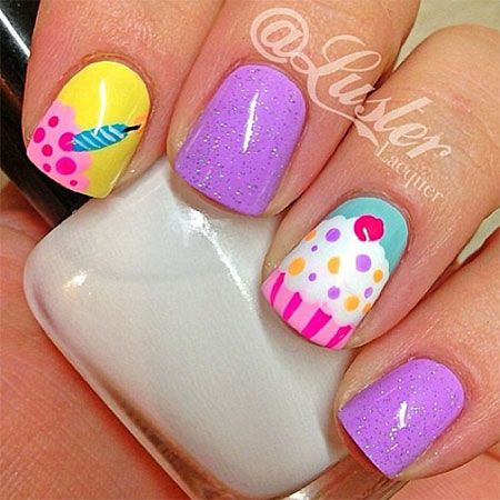 Happy B'Day Cake Nail Art Designs & Ideas 2014 For Girls