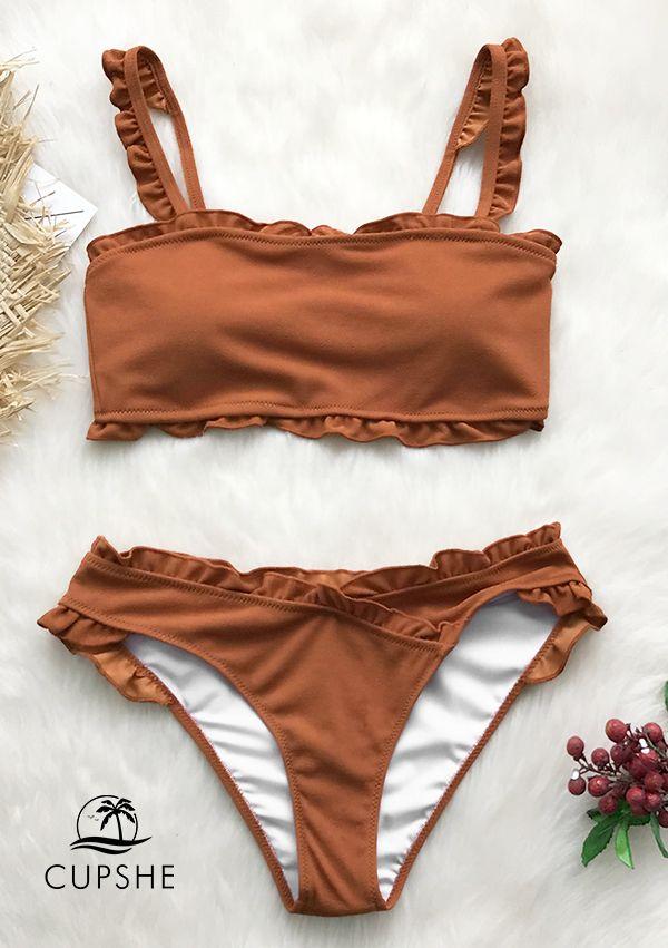 e6eb976c7babf Cute and sweet! The bikini features ruffle trim at the straps