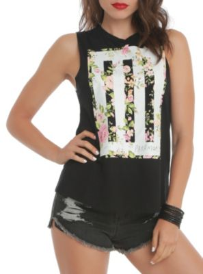 Paramore Floral Muscle Girls Top