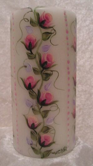 Candles - MELODY ROSE: Hand painted candle - Unique Gifts - HandCraftsByPat