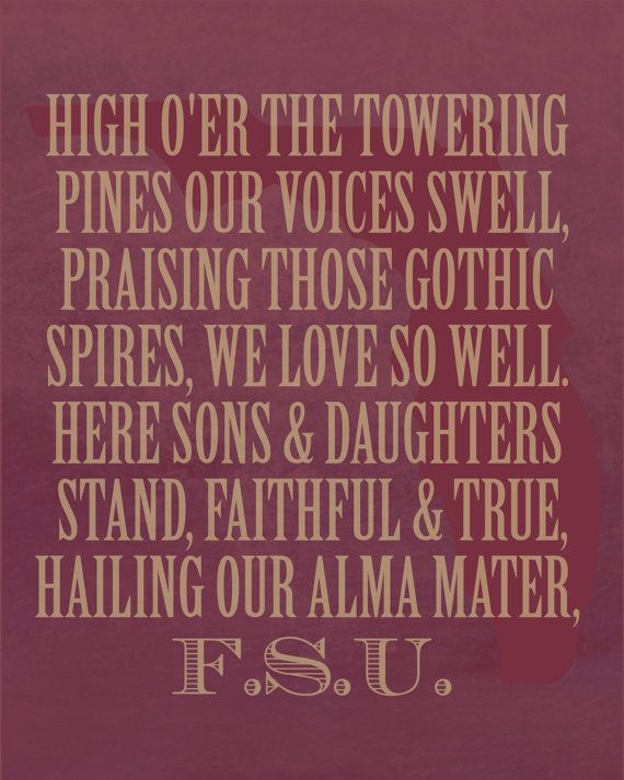 Florida State Seminoles Alma Mater Print by EmilyPullen on Etsy