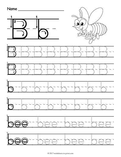 Free Printable Tracing Letter B Worksheet (With images ...