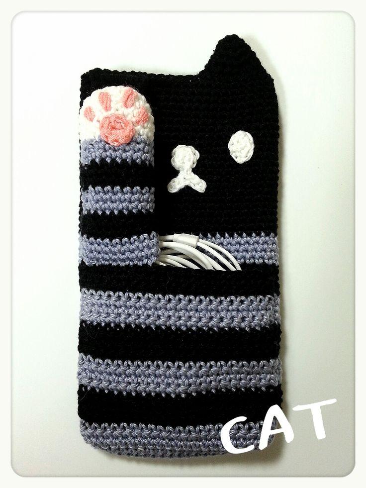 ネコのスマホポーチの作り方|編み物|編み物・手芸・ソーイング|ハンドメイド・手芸レシピならアトリエ