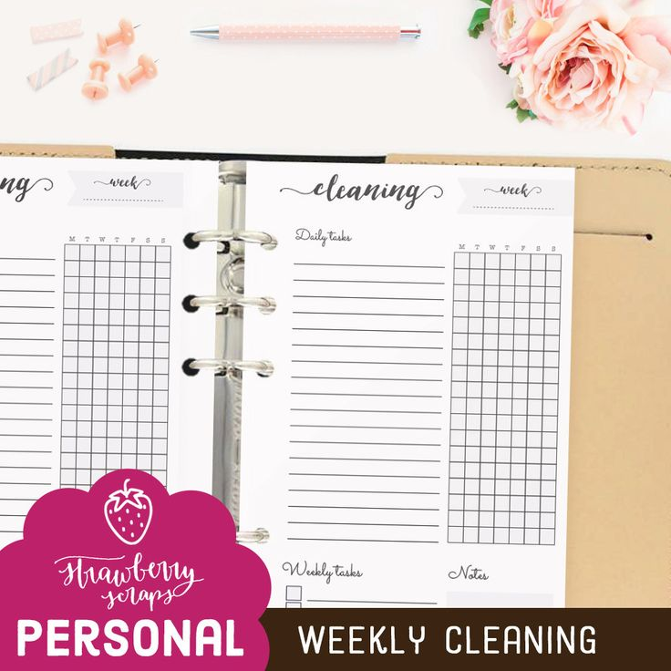 """Cleaning schedule: """"WEEKLY CLEANING"""" Printable planner inserts personal 