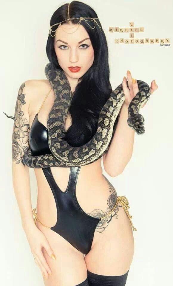 Burmese python with nude girl
