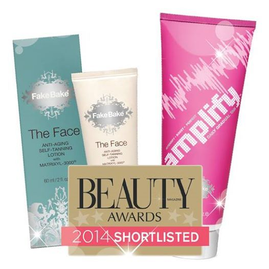 We are delighted to announce that Fake Bake has been shortlisted for the Beauty Awards 2014! The Face Anti-Aging Self-Tanning Lotion has been nominated in the Best New Premium Skincare Product and Best New Tanning Product categories and our brand new Amplify Daily Gradual Tan has also been nominated in the Best New Tanning Product category.    To test our nominated products for yourself, shop them here: http://www.fakebake.co.uk/contents/en-uk/d84_fullrange.html