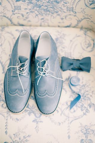 Powder dusty blue groom's shoes and bow tie
