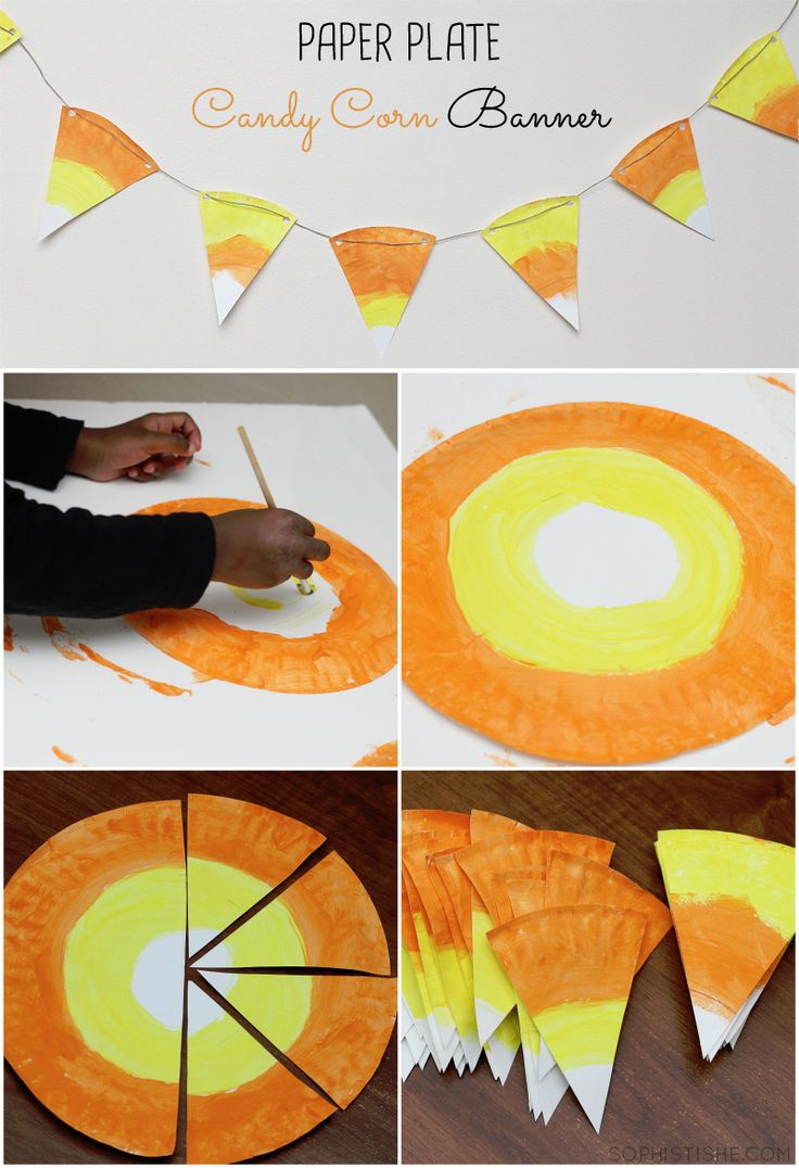 halloween decor paper plate candy corn banner arts crafts decor halloween - Preschool Halloween Crafts Ideas