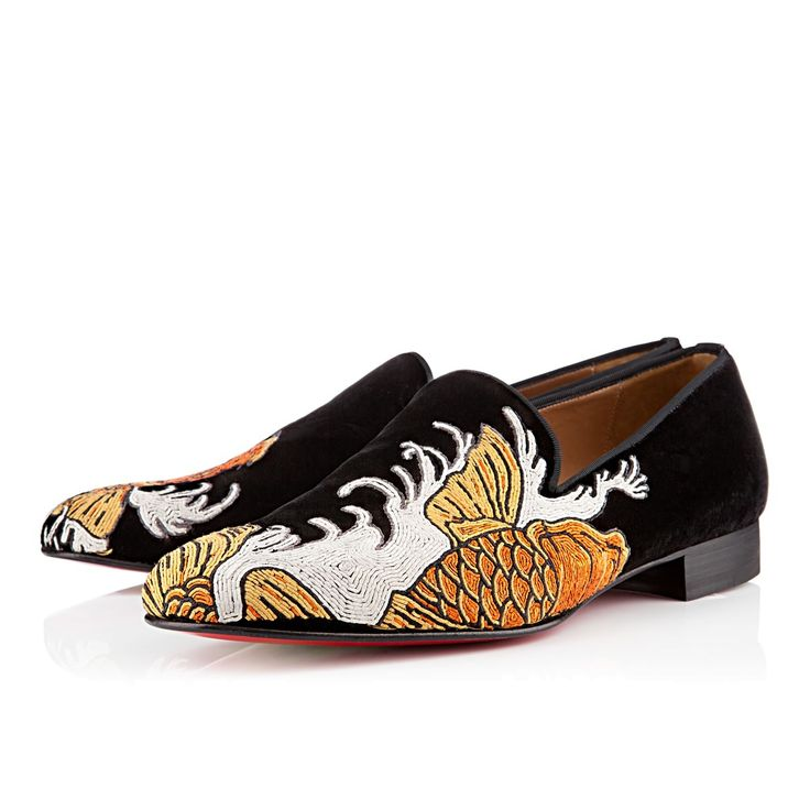 black loafers with gold spikes - christian louboutin suede highness dragon tattoo pumps, christian ...