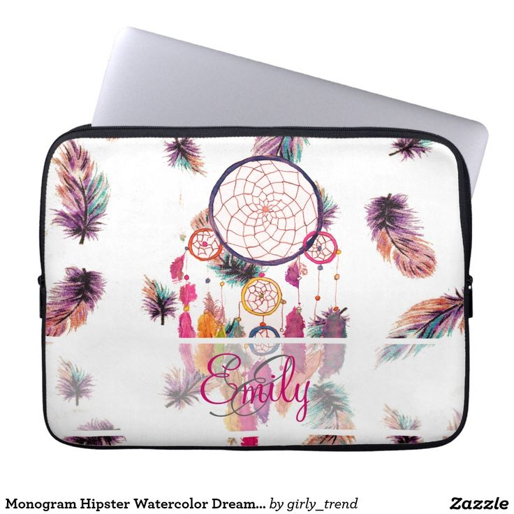 Monogram Hipster Watercolor Dreamcatcher Feathers Laptop Computer Sleeves