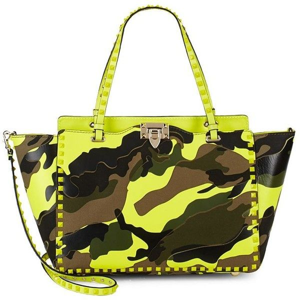 Valentino Camouflage Tote ($1,360) ❤ liked on Polyvore featuring bags, handbags, tote bags, camo tote bag, hand bags, leather man bags, tote purses and purse tote