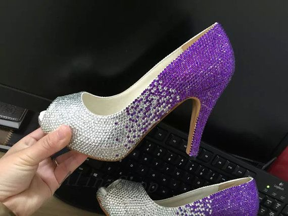 Purple Wedding Shoes Violet Crystals Fading To Silver Bling Bridal Heels Open Toe Prom