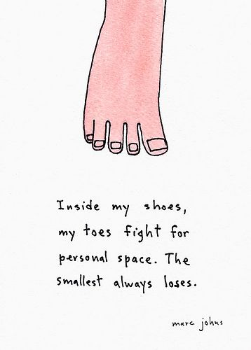 Toes vs. Shoes by Marc Johns #Illustration #Marc_Johns #Toes_and_Shoes