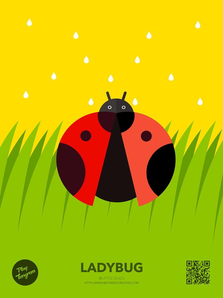 Cute Bugs Education puzzle_Ladybug #PlayTangram #Colorful #Modern #Minimal #Puzzle #Learning #Flat #ios #iphone #Nature #Children