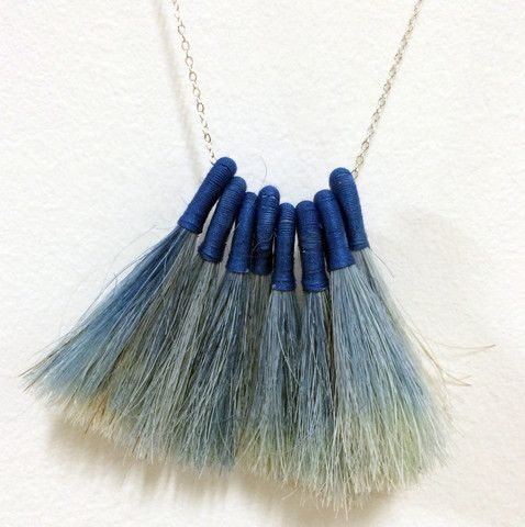 Indigo Dip-dyed Fringe Necklace