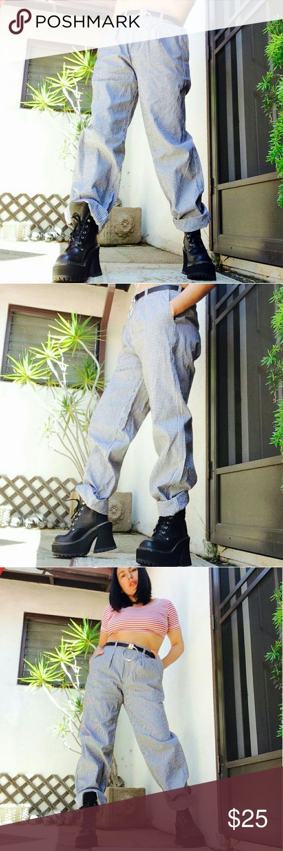 """Vtg gingham german grandpa oversized trousers Imported vintage german gingham cotton high waisted grandpa trousers. Black / white combo. Size 33x31. I believe these are male, but girls can slay these too.   Waist is elastic and will adjust several sizes.  Measuraments taken across, without stretching:  Waist: 13"""" Hips: 17"""" Rise: 13 1/2"""" Inseam: 31""""  Modeled in small/26""""w with oversized / baggy fit.  No trades  Cool discounts on bundles     Vintage retro plaid checkered gingham granny grandpa…"""