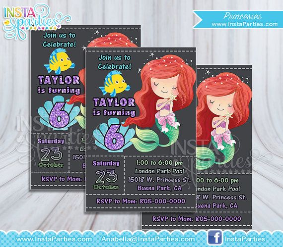 Ariel invitation Princess Party / little mermaid invitations Princesses Party / Princess Ariel Invites Birthday / Invitations Chalkboard