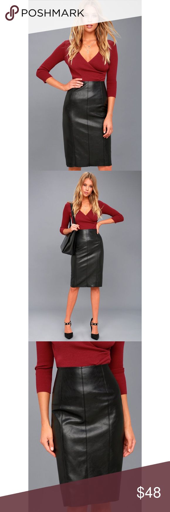 """PENCIL ME IN BLACK VEGAN LEATHER MIDI SKIRT Mark your calendars because the Pencil Me In Black Vegan Leather Midi Skirt is ready to party! Stretchy vegan leather starts at a high waist, then hugs your curves all the way to a midi hem. Seamed detail and a raw hem adds an edgy finish. Exposed gunmetal zipper at back meets with a kick pleat. Unlined. 50% Polyester, 50% PU.  Length: Knee to mid-calf length. Size small measures 25"""" from top to bottom.  Original manufacturer tag attached. Lulu's…"""