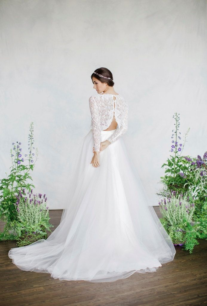 487 best long sleeved wedding dresses images on pinterest austria 10 swoon worthy two piece wedding dresses from etsy junglespirit Gallery