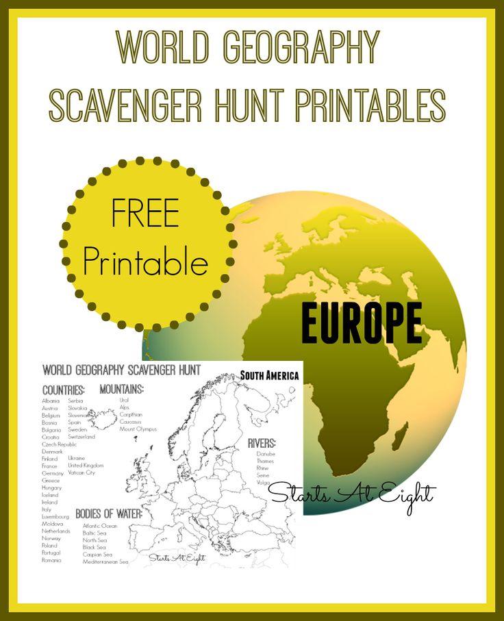 FREE World Geography Scavenger Hunt Pack