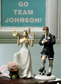This Cheering Bride is clearly a big fan of her new Groom. Partnered here with Soccer Fanatic Groom. Each figurine sold separately to allow mixing and matching as desired to create the perfect couple. Made of hand painted porcelain it is a high quality figurine that can be enjoyed as a keepsake for years after the wedding. The cake topper weighs 0.5 lbs and is 3.75 long, 4.5 wide and 6.5 tall. Presently this cake topper is available with skin tones and hair colors only as shown and is sold…