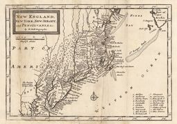 North America    Title: New England, New York, New Jersey, and Pensilvania & c. By H. Moll Geographer.    Artist: Moll, Hermann    Published: London, J. Nicholson & R. Parker    Date: 1708    Size: [18,1 x 25,8 cm]    Technic: Copper engraving / Uncolored    Description: Copper engraving, uncolored as published.    Notes: Skillful restorations at the folds. Still in very good to excellent condition.    Condition: VG/Excellent    Reference:    Price: US $ 245 / Euro 196