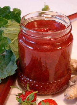 Jordgubbs marmelad med rabarber och ingefära. Enkelt recept ♡
