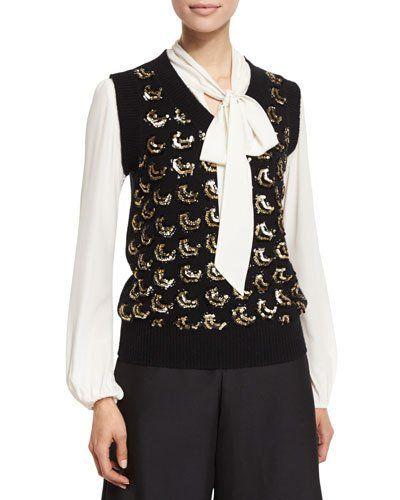 Co+Sequined+V+Neck+Sweater+Vest+Black+Gold+|+Clothing